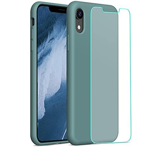 "YATWIN Funda Compatible con iPhone XR 6,1"" + 1Pcs Cristal Templado, Carcasa iPhone XR Funda de Silicona, Sedoso-Tacto Suave, Estructura de 3 Niveles con Forro Suave de Microfibra, Pino Verde"