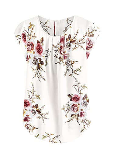 Milumia Women's Elegant Floral Print Petal Cap Sleeve Pleated Vacation Office Work Blouse Top Beige Small