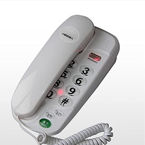 ELKeyko BUTTONES Big PEQUEÑO TELÉFONO PEQUEÑO TELÉFONO Fijo con Pausa Y RELAJE, LUZ INDICADOR, DESPRUEÑO Y Montaje DE LA Pared para HOGAR (Color : White)