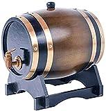Personalizado - Barril de Roble Barril de Madera - Añeje su Propio Whisky Cerveza Vino Bourbon Tequila Ron Salsa Picante y más (Color: Retro Color Tamaño: 3L)-3L_marrón Uptodate