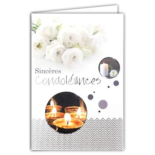 Afie 64-1062 Carte Sincères Condoléances Gris Argenté Brillant Décès Deuil Bougies Fleurs Roses Blanches Fabriqué en France