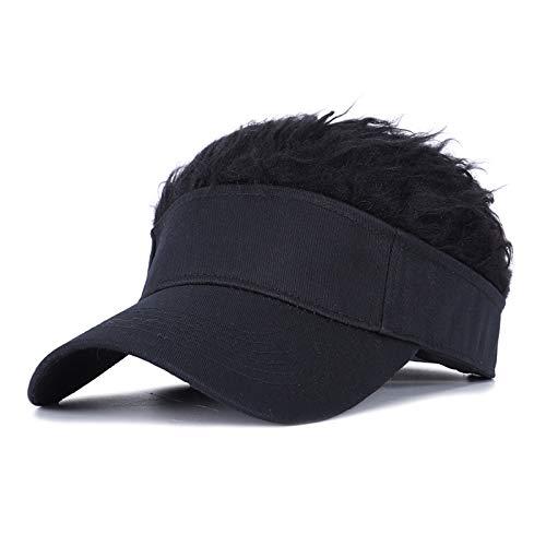 Flair Hair Sun Visor Cap, Visor Camouflage Wig Hats Novelty Fake Flair Hair Hat Adjustable Baseball Hat Sports Cap Sun Outdoor (Black)