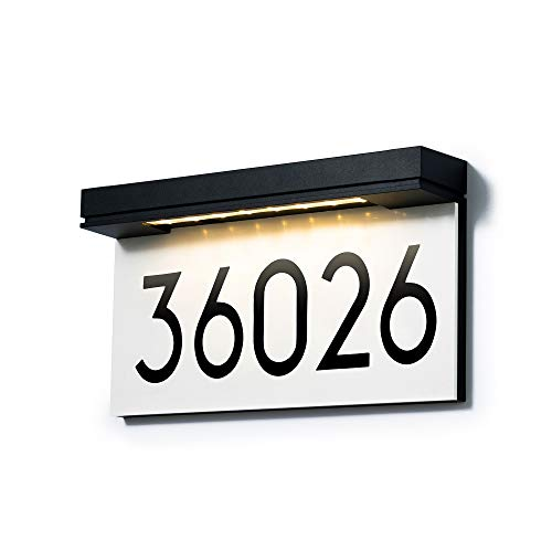House Numbers Solar Powered, Address Plaques for House, LED Illuminated Waterproof Outside Address Sign 3000K Warm White LED