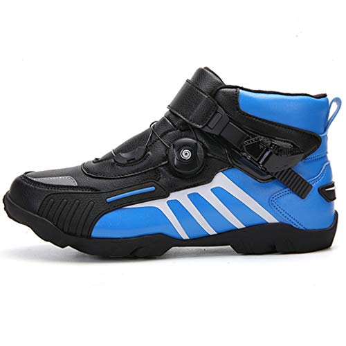 WERT Motorradstiefel Herren Racing Rüstung Heavy-Duty-Scooter On-Road Stiefel Anti Slip Short Knöchelschuhe wasserdichte Motorrad-Schuhe,Blue-46