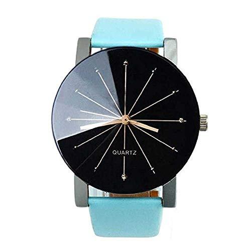 WSSVAN Nueva línea de Diamantes de Ginebra Reloj de Cuarzo Reloj Casual de Cuero con Diamantes de Pareja Reloj de Hombre y Mujer de la Personalidad de la Moda (Azul)