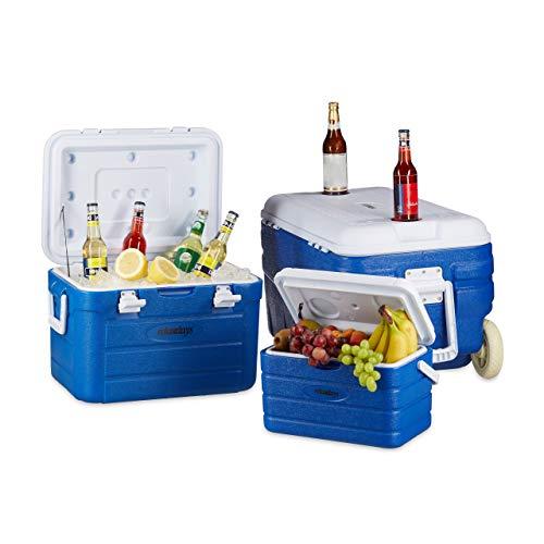 Relaxdays Kühlbox ohne Strom im Set, 3 Kühltaschen, Kühltrolley groß mit Rollen, Wasserablauf, 10-80 Liter, blau-weiß