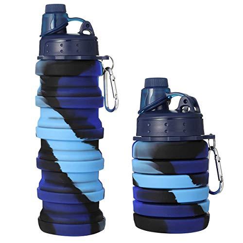 Botella de silicona, sin BPA, plegable, 500 ml, color camuflaje, personalizable, para...