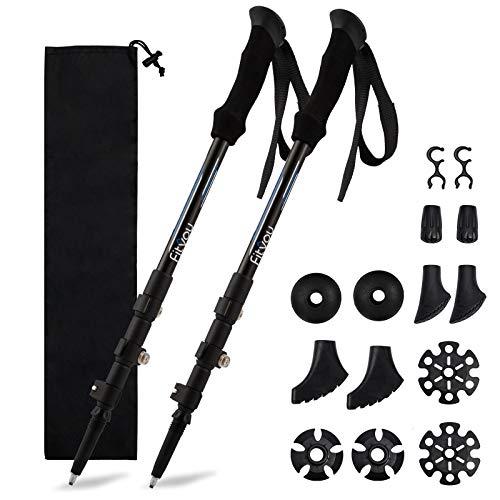 Fityou Nordic Walking Trekking Poles - 2 Pack Aluminum Metal Stick with Antishock and Quick Lock System, Adjustable, Ultralight for Hiking, Camping, Mountaining, Backpacking, Walking, Ergonomic Grip