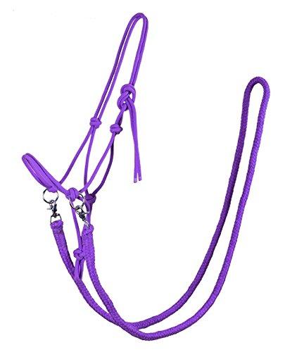 QHP Knotenhalfter mit Zügeln Robustes 10 mm Dickes Seil u. Größen (Vollblut, Passion Flower)