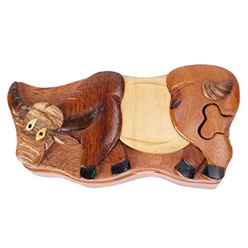Valicclud 1 caixa de joias de madeira anel colar brincos caixa de armazenamento caixa de madeira (cor de madeira) surpresa dos namorados