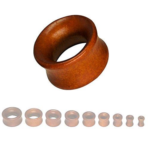 SoulCats® 8-22mm Plug Holz Flesh Tunnel Tube Holzplug Double Flared braun schwarz beige, Größe:16 mm;Farbe:braun