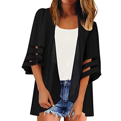 Vectry Blusas para Playa Cárdigan De Punto Mujer Kimono Japones Mujer Pareos De Mujer Camiseta Mujer Verano Blusas De Mujer Elegantes De Fiesta Negro