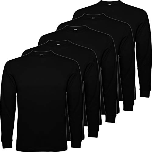 Pack 5 | Camiseta Manga Larga Hombre | 100% Algodón Punto Liso | Cuello Redondo (Negro, 3XL)