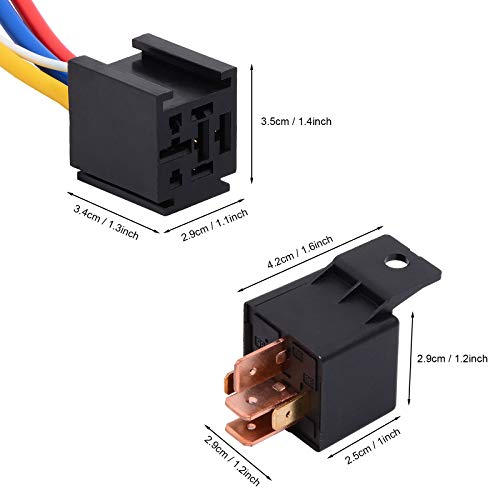 Ehdis [2 Pack Car Truck Motor Heavy Duty Heavy Duty 5-Pin 80A 12V On/Off Normally Open SPDT Relay Socket Plug 5 Wire Automotive