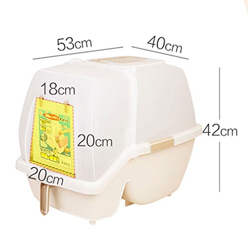 Lightweight Dogs Self Cleaning Cat Litter Box, Cat Toilet Fully Enclosed Cat Toilet Anti-Splashing Cat Cat Large Cat Litter The Best Cat Supplies cat Litter Box (Color : Brown)