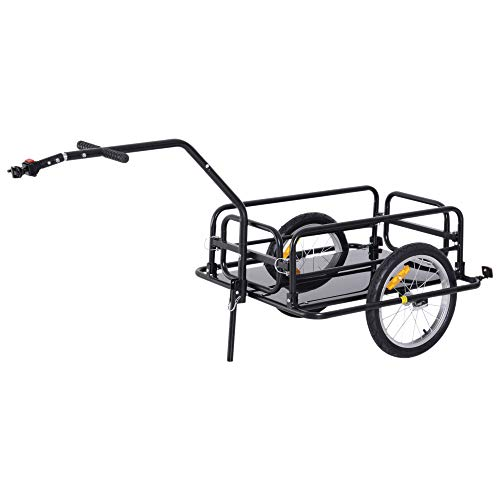 homcom Carrello per Bicicletta Rimorchio Cargo Bici Trasporto di Oggetti Pieghevole Portata 36kg 156x72x82cm