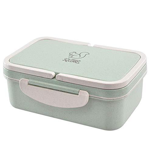 VNEIRW Weizen Stroh Bento Boxen Microwaveable Lunch Container mit Deckel und Griff, Bequem Aufbewahrungsbox Lunchbox Mittagessen Box Geschirr mit 3 Fächern (Grün)