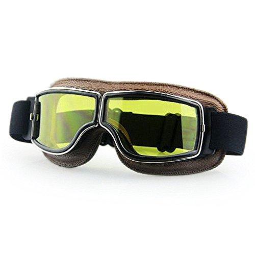 LEAGUE&CO Gafas de Moto Retro Vintage Gafas de Protección Gafas Piloto Gafas de Aviador, Gafas para Casco Harley Davidson Dyna Touring Trike Motocross Marco Marron, Lente Amarillo