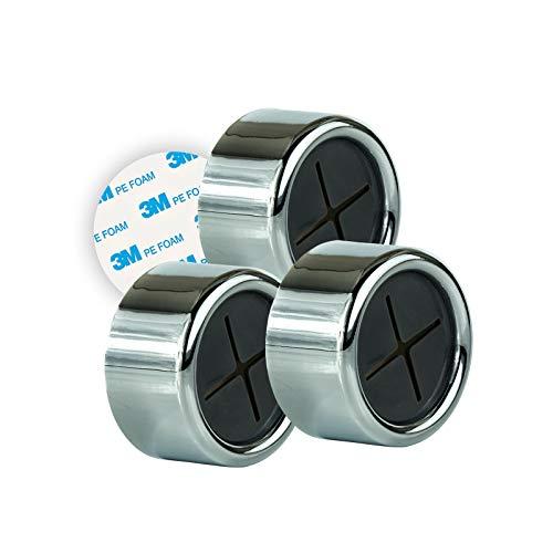 Eqosun® |Sonderedition 3M| praktischer Handtuchhalter in Chromoptik mit Original 3M Klebefläche (extra starker Halt) für kleine Handtücher, Spültücher im 3er Pack