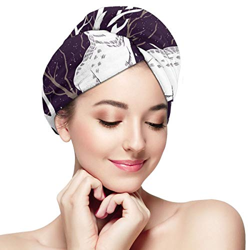 Deer Sun Trees Night Dry Hair Cap Microfibre Hair Towel Wraps Ultra Absorbent Quick Dry Twist Turban with Button for Drying Curly Long Thick Hair 11 i