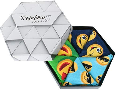 Rainbow Socks - Damen Herren Lustige Socken Box - 3 Paar - Türkis Dunkelblau Grün - Größen EU 36-40