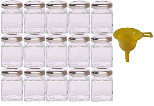 Viva Haushaltswaren - 15 x Mini-Marmeladenglas / Gewürzglas 50 ml mit silberfarbenem Schraubverschluss, Gläser Set mit Deckel für Gewürze, Konfitüre, Salz etc. verwendbar (inkl. Trichter)