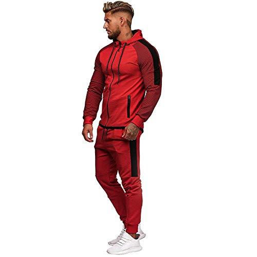 Herren Autumn Gradient Zipper Print Sweatshirt Top Pants Sets Sportanzug TrainingsanzugPlissee-Reißverschluss für Männer mit langen Ärmeln, Kapuzenoberteil und Sweatshirt-Hosenanzug in Rot XXXL