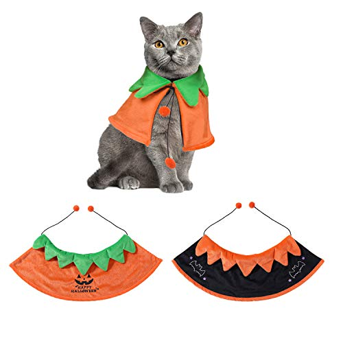 Pet Halloween Dog Cat Costume Cloak Cute Reversible Pumpkin Bat Cat Cloak Halloween Cosplay Party Cape for Dogs Cats Puppy Kitten (S)