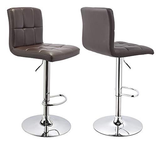 Duhome Barhocker 2X Barstuhl Kunstleder oder Stoff Tresenhocker Bar Sessel gut gepolstert höhenverstellbar mit Lehne eckig 451Y, Farbe:Braun, Material:Kunstleder