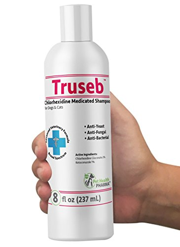 Truseb Medicated Shampoo for Dogs, Cats and Horses with Chlorhexidine and Ketoconazole - Hot Spots, Ringworm, Yeast, Fungal, Yeast Infections, Ringworm, Pyoderma & Skin Allergies U.S.A (8 Oz)