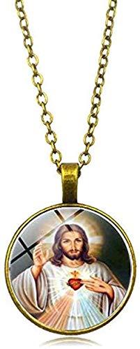 DUEJJH Co.,ltd Collar Virgen María Madre del bebé Collar Jesucristo Colgante Cristiano Católico Religioso Azulejo de Vidrio Collares Colgantes
