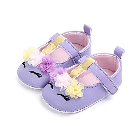Sanfiyya La niña del Cuero de Zapatos del Bordado de la Flor Suave Antideslizante Zapatos Primero Que Caminan de la Princesa de 3-18m Infantil púrpura