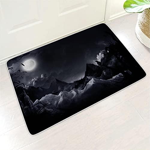 kikomia Felpudo muy suave con diseño de murciélago oscuro, cuervo nube y luna con impresión étnica, para interior y exterior, color blanco, 45 x 70 cm