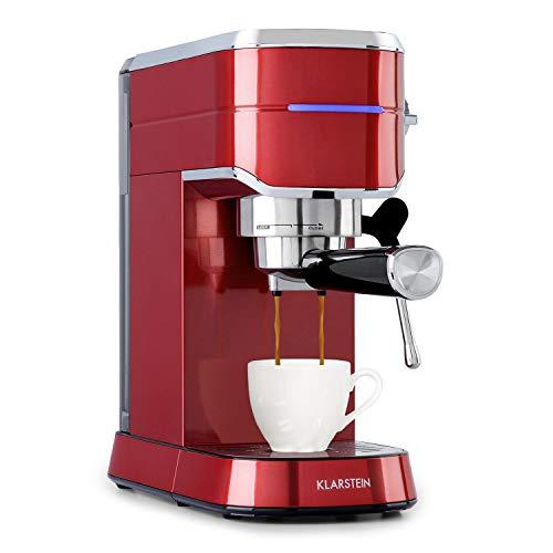 KLARSTEIN Futura - Macchina per Caffè Espresso, 1450 Watt, 20 bar, Qualità Professionale, Sistema Riscaldante Thermo-Block, Doppio Erogatore, Blocco di Flusso, Funzione per Montare Latte, Rosso