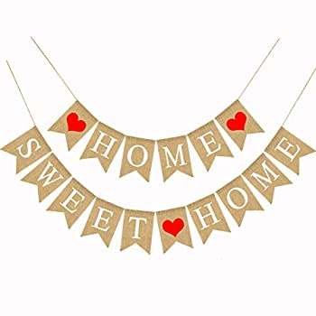 Home Sweet Home Burlap Banner Home Housewarming Party Fireplace Garland Decoration 5.1X7.1inch Sweet Home Banner