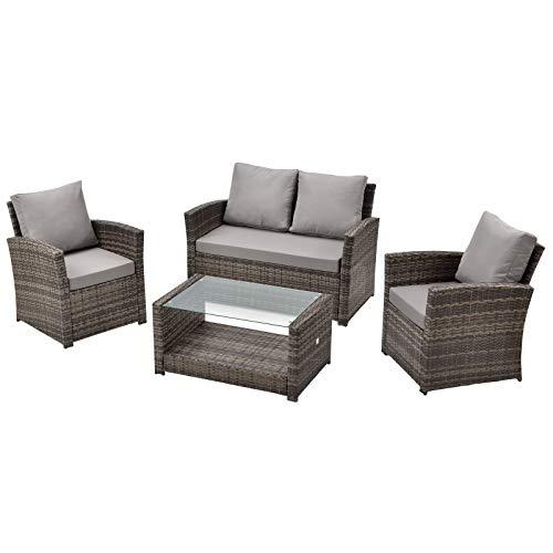 SVITA Roma Polyrattan Lounge Rattan Garten Möbel Set mit Sofa und Sessel Gartenlounge Essgruppe mit Tisch Braun - 2