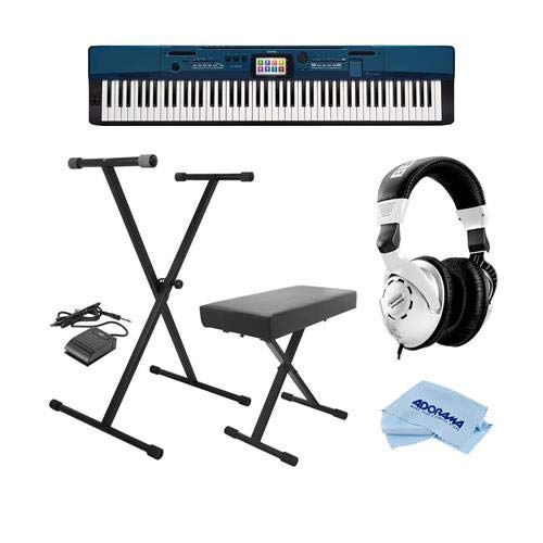 asio PX-560 Privia 88-Key Portable Digital Stage Piano with 5.3in Color Touch Interface - Bundle with On-Stage...