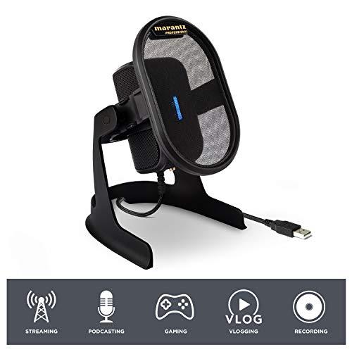 Marantz Professional Umpire USB-microfoon voor opnamen, podcasts, streaming en gaming met tafelstatief, pop-filter en microfoonspin