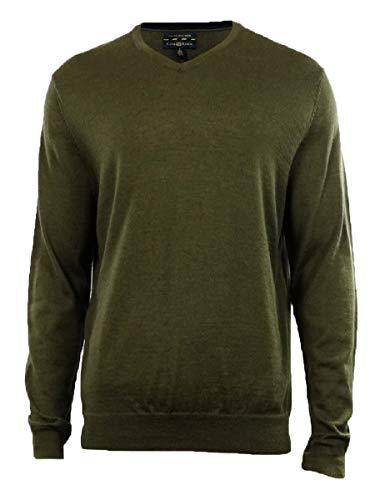 Club Room Men's Merino Wool Blend V-Neck Sweater (S, Cabbage Heather)