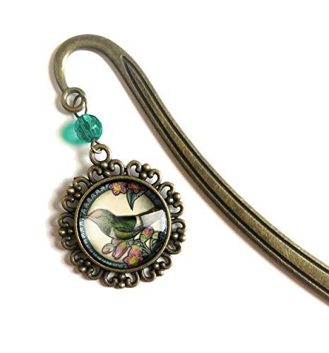 Hummingbird brass book hook bookmark