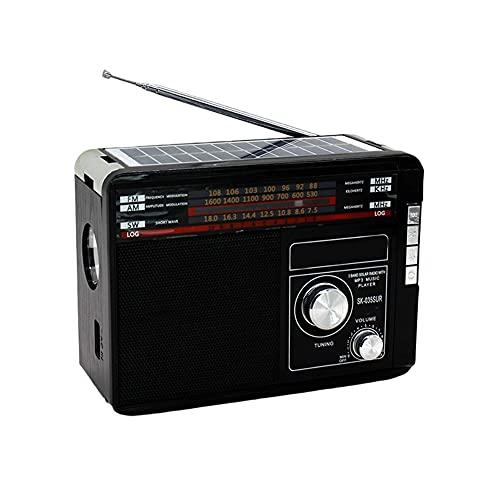 Osca Radio De Meteorología De Emergencia, Cargador De Teléfono Móvil USB Móvil, Radio Solar, Linterna Brillante/Lámpara De Lectura, Interiores Y Exteriores, Alarma SOS,Negro