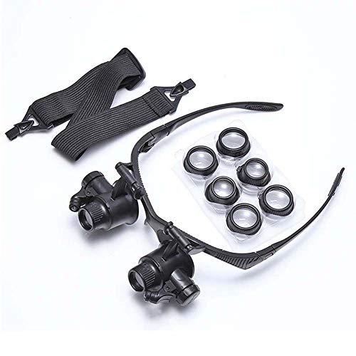 FZYQY Gafas Lupa con LED Luz Manos Libres Cabeza Lupas de Aumento,4 Lentes Reemplazables(10X 15X 20X 25X) para Leer,de Reparación Relojes,Costura,Manualidades