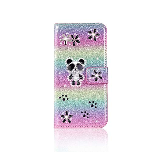 Samsung Galaxy A71 Case, 3D Bling Diamond Shockproof PU Leather Flip Notebook Lovely Panda Wallet Cover with Kickstand Function Card Holder Slots Protective Phone Cases for Girls Women Rainbow purple