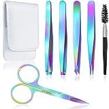 Best Eyebrow Tweezers - 6 Pieces Eyebrow Tweezers Set with Curved Scissors Review