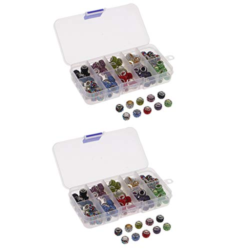 Baoblaze 2 Boxed Clay Beads with Big Hole Jewelry Making Accessories for Bracelets Necklace