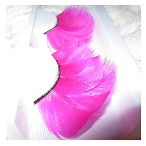 Faux cils en Plumes Exagérées De Scène Rouge Rose, Cils Réutilisables pour Les Yeux pour Tous Les Yeux pour Un Beau Maquillage