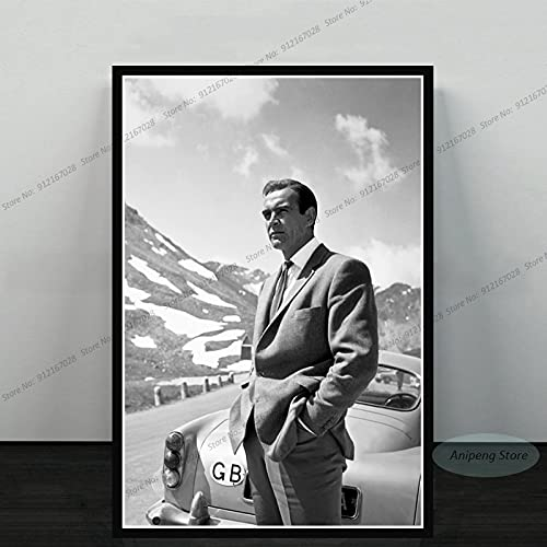 meishaonv Sean Connery Attore di Film James Bond 007 with Guns Poster Art Canvas Painting Picture for Living Room Home Decor A808 50 × 70 CM Senza Cornice