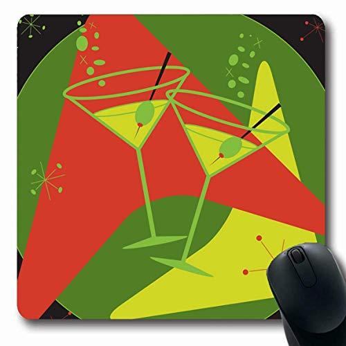 Jamron Mousepad OblongRetrostyled Atomic Martinis 1950er Jahre Lounge Flair Sprudelndes Essen Trinken Wodka Holidays Molecule Vintage Rutschfeste Gummimaus Pad Office Computer Laptop Spiele Mat.-Nr.