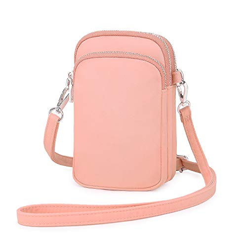 Wind Took Handy Schultertasche Kleine Damen Umhängetasche Handytasche Brieftasche Kartentasche Crossbody Bag Mini Sack (A - Korallenrosa)