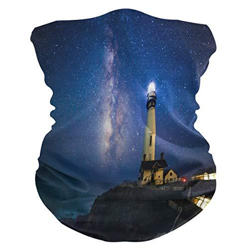 SunsetTrip Galaxy Meer Strand Leuchtturm Multifunktionales Bandana Schal Gesicht Staub UV Maske Hals Gaiter Stirnband Kopfbedeckung Halstuch für Sport Wandern Laufen Motorrad